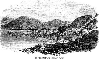 Smyrna in Turkey vintage engraving - Smyrna in Turkey,...