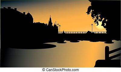 Bridge silhouette in sunset - Silhouette of buildings and a...