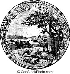 Seal of the State of Indiana USA vintage engraving - Seal of...