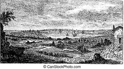 Syracuse. - Ruins of the theater to the forefront, vintage engraving.