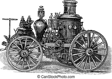 Amoskeag Steam-powered Fire Engine vintage engraving