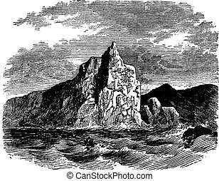 Cape Horn in Chile vintage engraving - Cape Horn in Chile,...