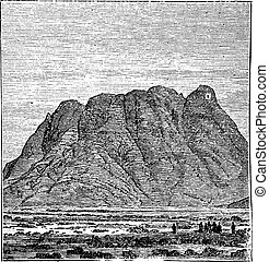 Mount Sinai or Mount Horeb in Sinai Peninsula Egypt vintage...