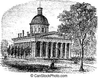 Indiana Statehouse in Indiana America vintage engraving -...