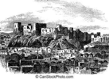Citadel of Herat, Afghanistan vintage engraving