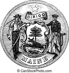 Great Seal of the State of Maine, United States, vintage engraving