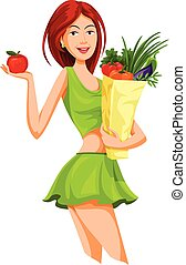 Vector of beautiful woman holding an apple and grocery bag...