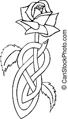 Celtic knotted rose - Illustration of rose with knotted...