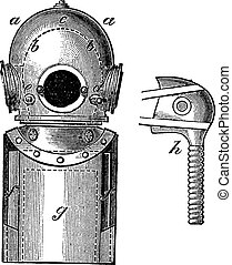 Surface-supplied Diving Equipment, vintage engraving