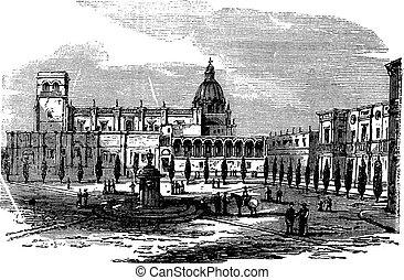 Historic cathedral building at Guadalajara, Mexico vintage engraving