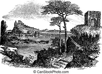 Ischia in Italy vintage engraving - Ischia in Italy, during...