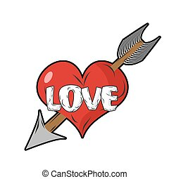 Red heart and arrow of Cupid. Emblem for everlasting love....