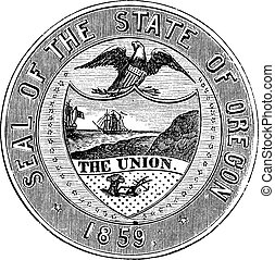 Seal of the State of Oregon, vintage engraving