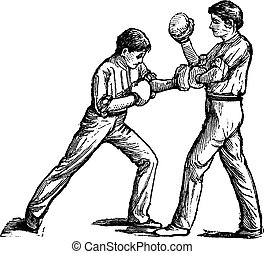 Two boxers fighting vintage engraving - Two boxers fighting,...