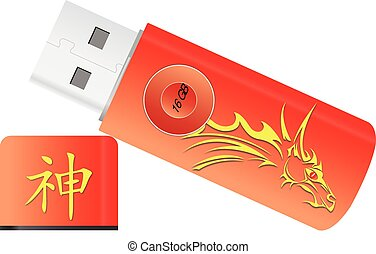 USB Flash Drive, illustration - USB Flash Drive, Red and...
