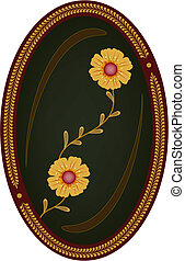 Flowers in oval frame