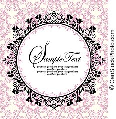 Ornate frame on pink damask background