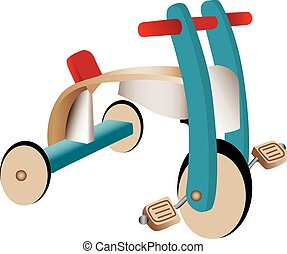 Wooden toy tricycle - Three dimensional illustration of...
