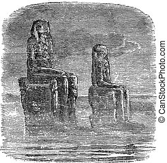 Statue of Memnon, Egypt, vintage engraving - Statue of...