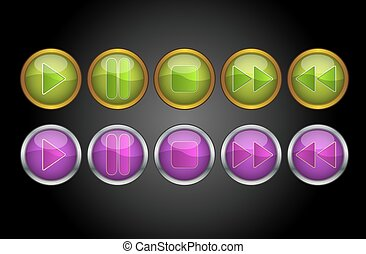 Music Player Buttons, illustration - Music Player Buttons,...