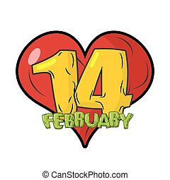 14 February emblem. Valentines day. Sign for Valentines day....