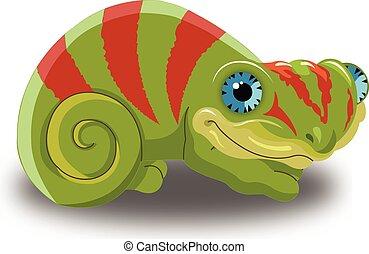 Chameleon, illustration - Chameleon, Green with Red Stripes,...