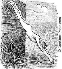 Position During Diving, vintage engraved illustration