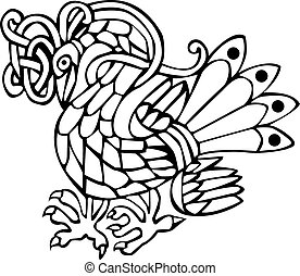 Celtic bird - A vector illustration of a Celtic bird with a...