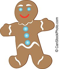 Smiling gingerbread cookie - Christmas gingerbread cookie,...