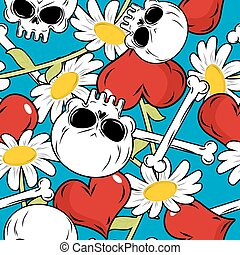 Skull and love seamless patetrn Red heart and white daisies...