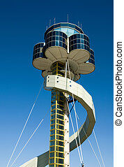 Airport Control Tower - The air traffic control tower at...