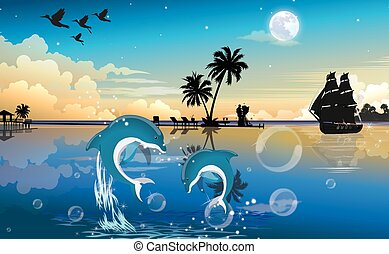 Moonlit Night at the Beach, illustration - Moonlit Night at...
