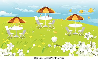 Hilltop Picnic, illustration - Hilltop Picnic, with White...
