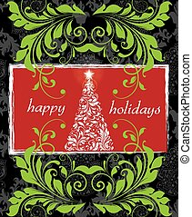 Vintage Christmas card with ornate elegant retro abstract...