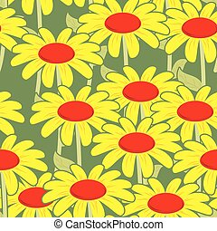 Chamomile seamless pattern. Yellow flowers ornament. Floral background. Texture to fabric.