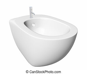 Round bidet design for bathrooms. 3D illustration - Round...