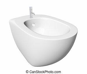 rond, bidet, conception, pour, bathrooms., 3D, Illustration,...