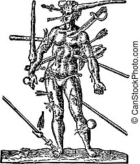 The Man of Wounds old engraving Illustration from the Opera...