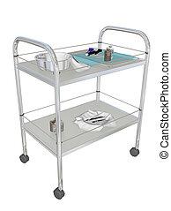 Mobile medical utility cart, 3D illustration