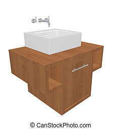 Modern bathroom sink set with ceramic wash basin and wooden...