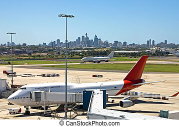 Airport Scene - A scene from Kingsford Smith Airport,...