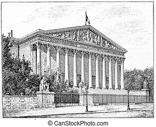 Chamber of Deputies, Peristyle of the Palais Bourbon in...