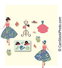 Fashion lady in floral dress with other fashion items and accessories