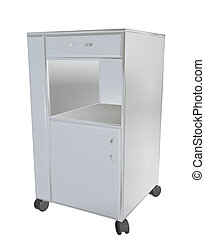 Stainless steel mobile cupboard, 3d illustration, for medical use