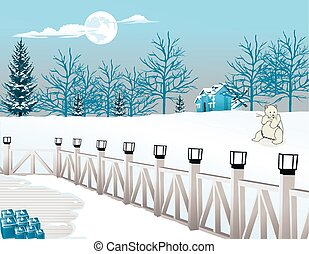 Cold Winter Night, illustration - Cold Winter Night, View...