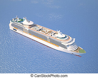 Cruise ship on the ocean top perspective view