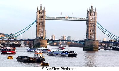 Londons Tower bridge Thames river - Londons Tower bridge at...