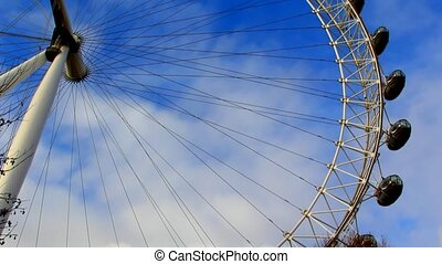 The London Eye ferrell symbol. Blue sky