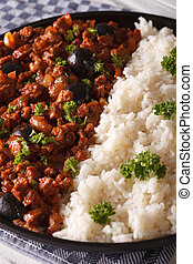 Latin American cuisine: Picadillo a la habanera with rice,...