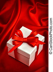 White gift box red ribbon bow. Valentines Day